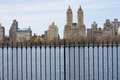 Central park looking at the west side from the jacqueline kennedy onassis reservoir in Stock Photo
