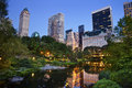Central Park and Manhattan Skyline. Stock Photo