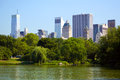 Central Park with Manhattan skyline Royalty Free Stock Photo
