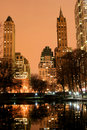Central Park and manhattan skyline, New York City Royalty Free Stock Photo