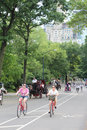 Central park new york city bicyclists in Stock Image