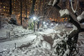 Central park new york city at night after snow storm Stock Photography
