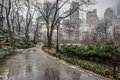 Central park new york city rain storm sidewalk Stock Photo
