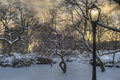 Central park new york city after snow storm in Stock Images