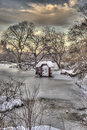 Central park new york city after snow storn in Stock Image