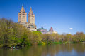 Central park new york city view of lake at nyc in spring Stock Images