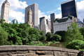 Central Park pond with buildings Royalty Free Stock Photo