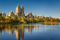 Central Park Reservoir, fall foliage and Upper West Side. Manhattan, New York City Royalty Free Stock Photo