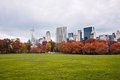 Central park sheep s meadow in the fall where once grazed located at southern quarter of across tavern on green Royalty Free Stock Photos