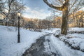 Central park after snow storm new york city in winter Stock Photo