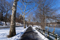 Central Park Snowy Path Stock Image