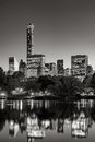 Central Park at twilight with Midtown skyscrapers. New York City Royalty Free Stock Photo