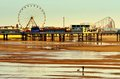 Central pier blackpool england at low tide beach looking towards the was opened on may a young woman plays with dog on the beach Stock Photography