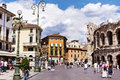 Central Square with Colosseum in Verona, Italy in a cloudy day Royalty Free Stock Photo