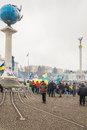 The central square of kiev during the mass rallies in support of ukraine dec protest against pro russian ukrainians course Royalty Free Stock Images