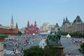 The central square of moscow june view on red from saint basil s cathedral with such landmarks as kremlin lenin s mausoleum Stock Images