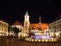 Central square at night in Bratislava.