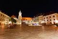 Central square at night in Bratislava, Slovakia