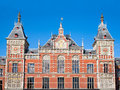 Central station amsterdam facade of the startion in the netherlands Royalty Free Stock Image