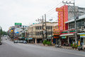 Central street and businesses in the town of krabi thailand oct Stock Photography
