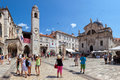 Central street of the dubrovnik old town croatia tourists walking on most popular stradun Stock Photos
