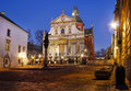 Centre de la ville par nuit : Saints Peter et Paul Church, Cracovie Image stock
