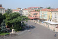 Centre of old verona italy ancient taken from the walls the arena Stock Photography
