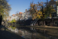 The centrum of utrecht holland old dutch canal in autum Stock Photography
