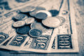 Cents dimes and quarters money dollars on a table Royalty Free Stock Photo