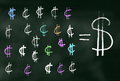 Cents and dollar signs illustration a chalk drawn on blackboard Royalty Free Stock Images