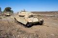 Centurion tank left of the yom kippur war on tel e saki on golan heights in israel Stock Image