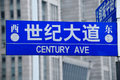 Century Avenue Street Sign Shanghai Royalty Free Stock Photo