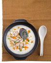 Century egg & pork porridge rice gruel serve Stock Images