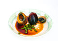 Century egg sliced open chinese food Stock Image