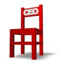Ceo chair with tag on white background d illustration Stock Photo