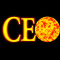 Ceo glossy illustration acronym globe on fire Royalty Free Stock Photo