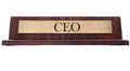 Ceo name plate wooden nameplate with text isolated on white Stock Photo