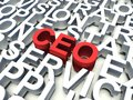 Ceo word in red salient among other related keywords concept in white d render illustration Royalty Free Stock Images