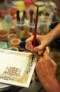 Ceramic artist working, pottery workshop Royalty Free Stock Photo