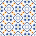 Ceramic blue and white mediterranean seamless tile pattern. Royalty Free Stock Photo