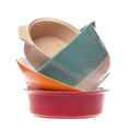Ceramic bowls in a stack isolated on white background Royalty Free Stock Photo