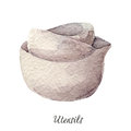 Ceramic bowls watercolor illustration on white Kitchen Utensils series Royalty Free Stock Photo