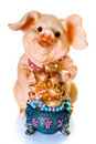 Ceramic chinese new year pig gift Royalty Free Stock Images