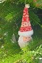 Ceramic Christmas toy Santa Claus on the Christmas tree Royalty Free Stock Photo