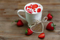 Ceramic Cup of Milk,Red Fresh Strawberries,Wish Card on the Wooden Background.Breakfast Organic Healthy Tasty Food.Cooking Vitamin Royalty Free Stock Photo