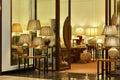 ceramic desk lamps in lighting shop Royalty Free Stock Photo