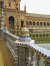 Ceramic detail monumental bridge on plaza de espana in seville Royalty Free Stock Images