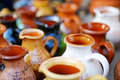 Ceramic dishes tableware and jugs sold on easter market in vilnius lithuania Royalty Free Stock Photography