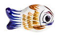 Ceramic fish a figurine isolated over a white background Royalty Free Stock Photos