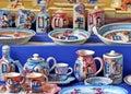 Ceramic greek vases colored in mykonos greece Stock Photo